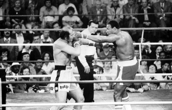 LAS VEGAS - FEBRUARY 3,1980: Larry Holmes (R) lands a right hook against Lorenzo Zanon during the fight at Caesars Palace on February 3,1980 in Las Vegas, Nevada. Larry Holmes won the WBC heavyweight title by a KO 6. (Photo by: The Ring Magazine/Getty Images)