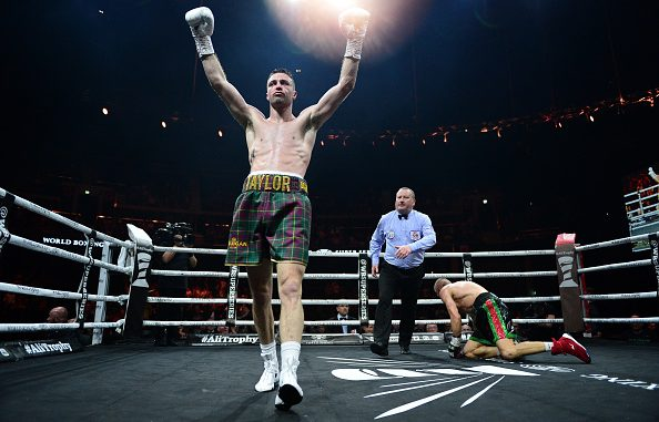 GLASGOW, SCOTLAND - MAY 18: Josh Taylor of Scotland (Tartan shorts), reacts as he knocks down Ivan Baranchyk of Russia (black shorts), during the WBSS Super Lightweight Semi Final IBF World Championship fight at the Muhammad Ali Trophy Semi-Finals - World Boxing Super Series Fight Night at The SSE Hydro on May 18, 2019 in Glasgow, Scotland. (Photo by Mark Runnacles/Getty Images)