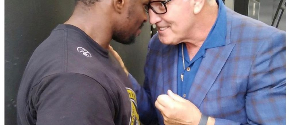 Gerry Cooney meets with Dillian Whyte at Whyte's training camp at Loughborough University, Leicestershire, UK. (Image Credit, Instagram, @gerryacooney)