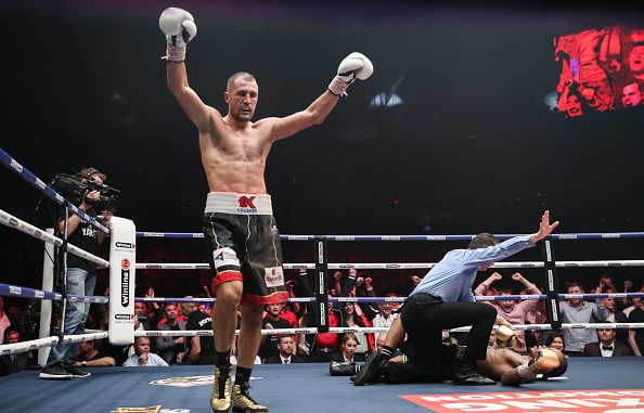 CHELYABINSK, RUSSIA - AUGUST 25, 2019: Russian boxer Sergey Kovalev celebrates victory in his WBO light heavyweight title bout against British boxer Anthony Yarde during a boxing show at Traktor Ice Arena. Valery Sharifulin/TASS (Photo by Valery SharifulinTASS via Getty Images)