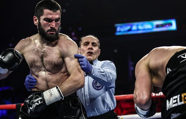 PHILADELPHIA, UNITED STATES - OCTOBER 19, 2019: IBF belt-holder Artur Beterbiev of Russia (L) and WBC titlist Oleksandr Gvozdyk of Ukraine (R) compete in a light heavyweight world title unification boxing fight at the Liacouras Center in Philadelphia, Pennsylvania, United States; Beterbiev won the bout. Valery Sharifulin/TASS (Photo by Valery SharifulinTASS via Getty Images)