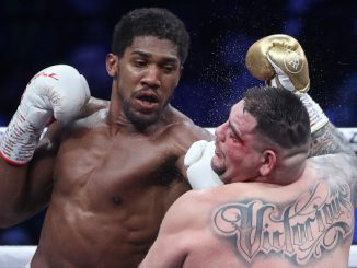 SAUDI ARABIA - DECEMBER 8, 2019: British boxer Anthony Joshua (L) and his American rival Andy Ruiz Jr struggle in their bout for the IBO, WBA Super, IBF and WBO World Heavy Titles at Diriyah Arena outside Riyadh. Valery Sharifulin/TASS (Photo by Valery SharifulinTASS via Getty Images)