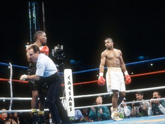 WASHINGTON, D.C. - MAY 22: Roy Jones Jr. and Bernard Hopkins fight for the IBF middleweight title on May 22, 1993 at Robert F. Kennedy Memorial Stadium, Washington, D.C. Jones won the fight with a unanimous decision in 12 round. (Photo by Focus on Sport/Getty Images)