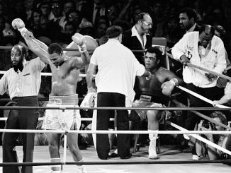American heavyweight boxer Muhammad Ali comes out of retirement only to lose a fight to current champion Larry Holmes in Las Vegas, 2nd October 1980. (Photo by Chris Smith/Popperfoto via Getty Images/Getty Images)