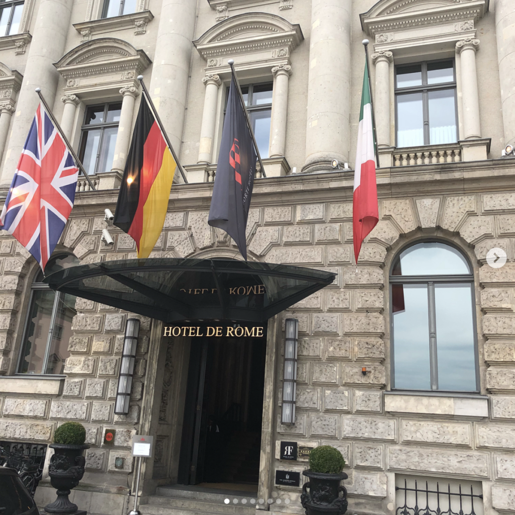 Hôtel de Rome, Berlin. Built in 1889 for the Dresden Bank headquarters which was closed down in 1989 when the wall fell. Gorgeous lobby and resturant and the rooftop terrace has birds eye views overlooking Berlin