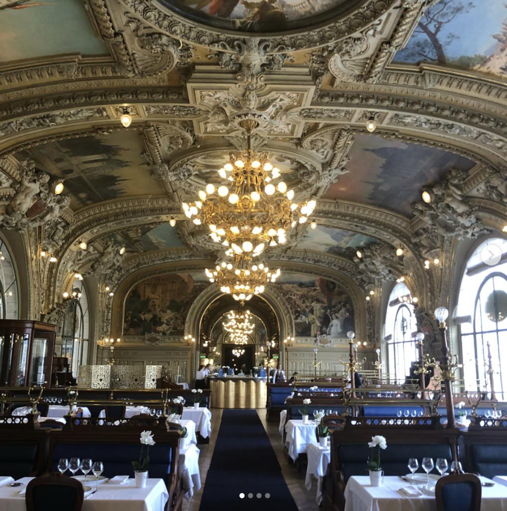 Le Train Bleu, Paris , Gare de Lyon. The Reaturant was originally created for the Exposition Universelle in 1900 and each ornate room represents regions of France.. The resturant was designated historical monument in 1972.