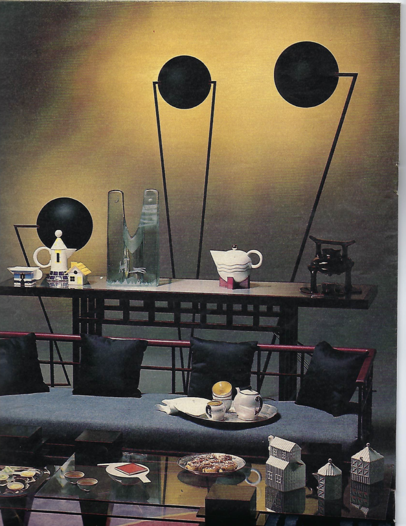 Display featuring the Zandt torchere floor lamp by Kevin Gray