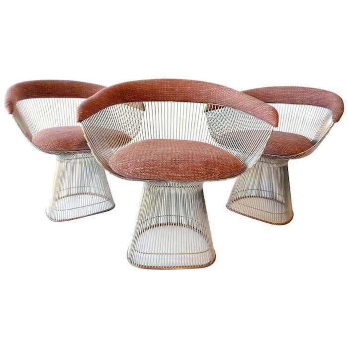 Mid-Century Modern Warren Platner for Knoll Chrome Dining Chairs