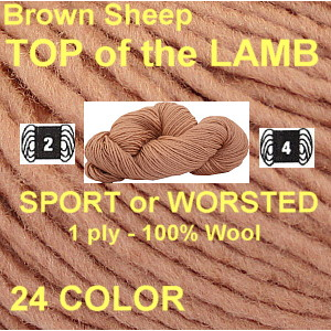 TOP OF THE LAMB SPORT or WORSTED YARN