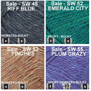 SW group 5 colors Riff Blue, Emerald City, Finches, Plum Crazy