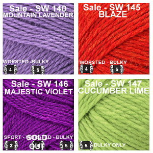 SW color Group 11 Mountain Lavender, Blaze, Majestic Violet, Cucumber Lime