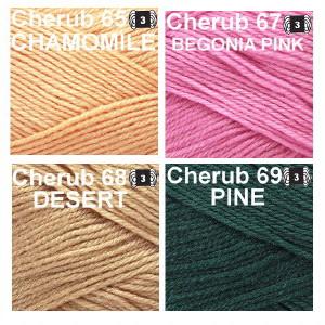 Cherub Colors, Chamomile, Begonia Pink. Desert, Pine