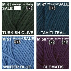 M group 6 Turkish Olive, Tahiti Teal, Winter Blue, Clematis.