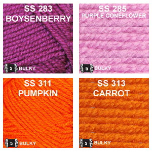 Colors group 7, Boysenberry, Purple Coneflower, Pumpkin and Carrot.