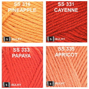 Colors group 8, Pineapple, Cayenne, Papaya and Apricot.