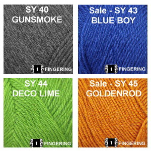 SY color group 5, Gunsmoke, Blue Boy, Deco Lime and Goldenrod.