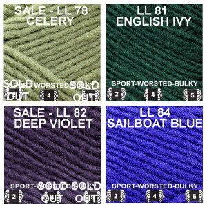 LL color group 11 Celery, English Ivy, Deep Violet, Sailboat Blue