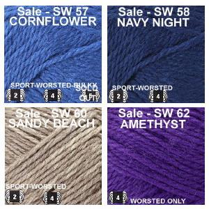 SW color Group 6 Cornflower, Navy Night, Sandy Beach, Amethyst