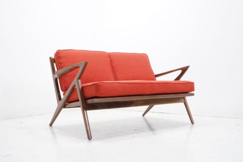 Mid Century Custom Z Loveseat Sofa