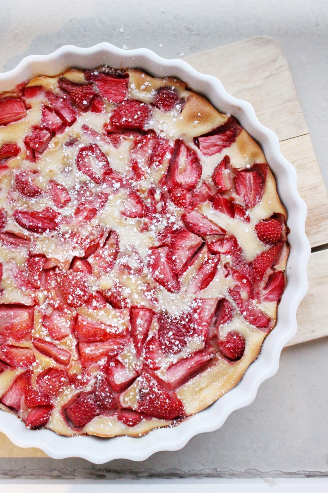 Clafoutis frutillas, recetas de cocina, recetas francesas, cocina francesa