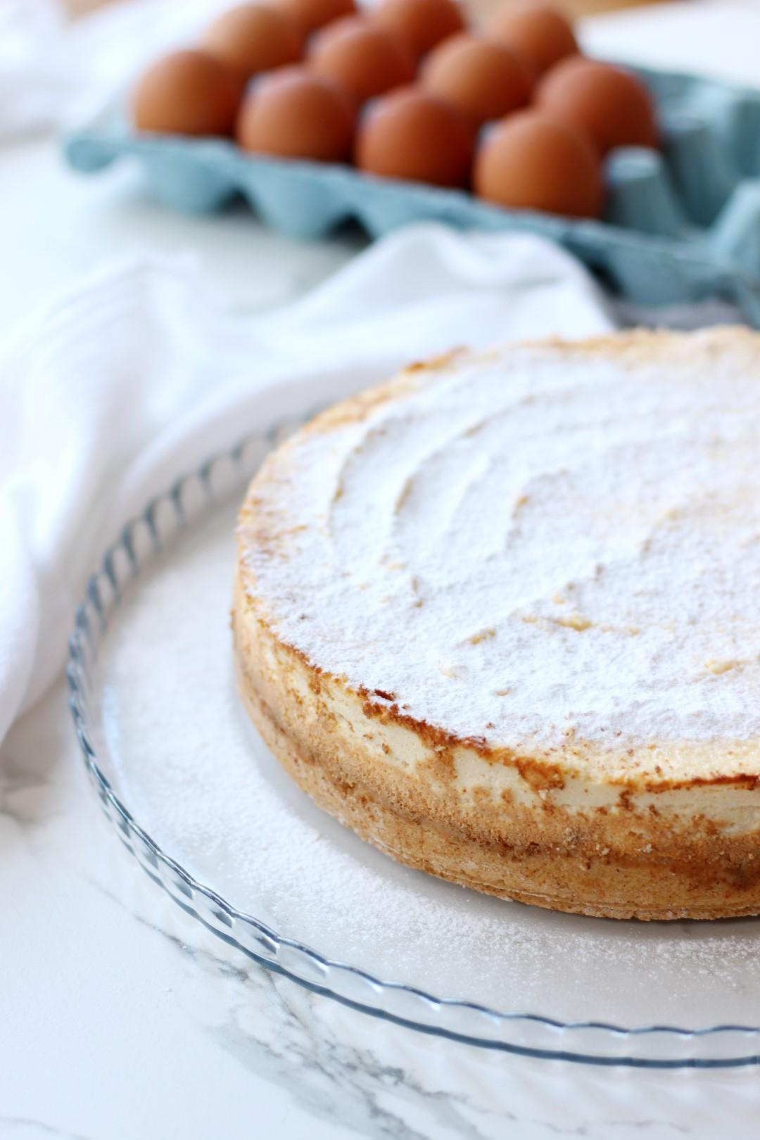 torta cheesecake de queso ricotta, receta de cocina fácil.