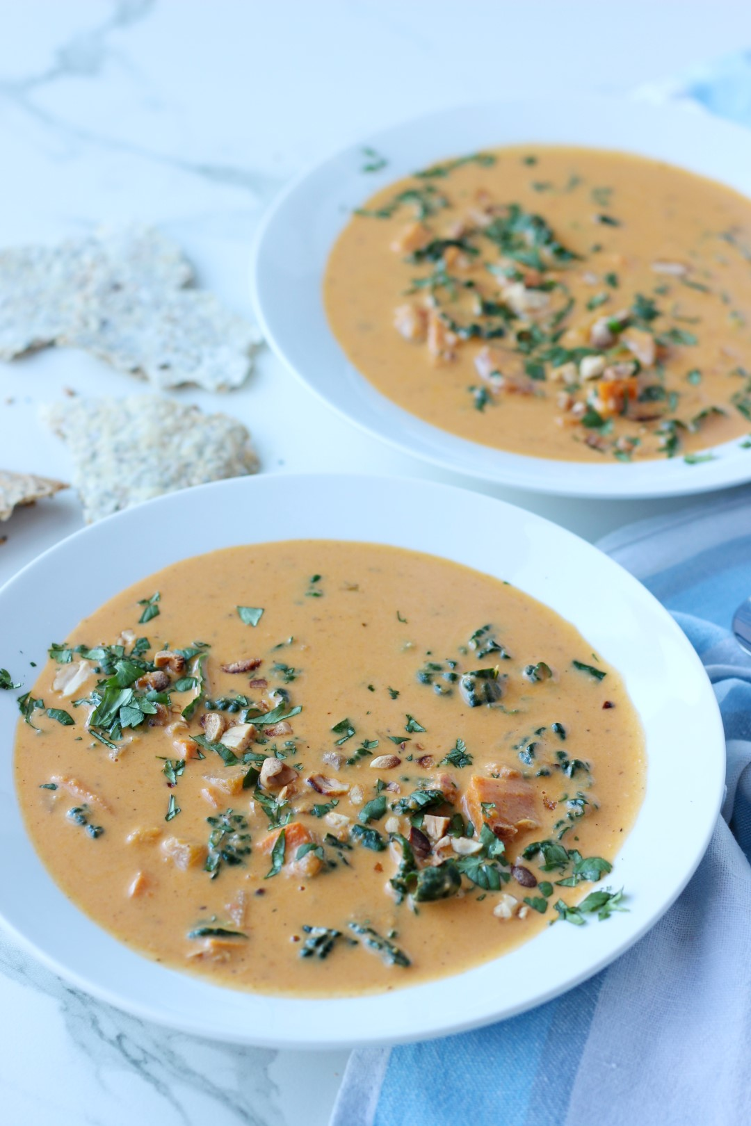 sopa de boniato, jengibre y kale, receta de cocina