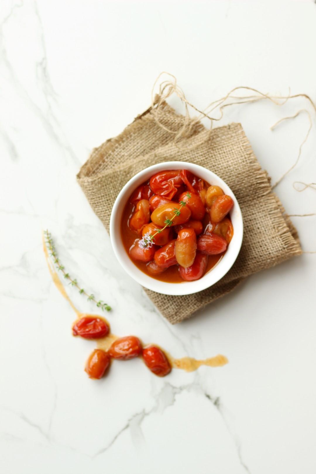 tomates cherry confitados, asado, recetas de cocina, técnicas de cocina, vegetales,