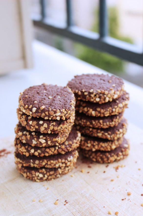galletitas de chocolate y café con frutos secos, galletas, receta de cocina, receta fácil, merienda.