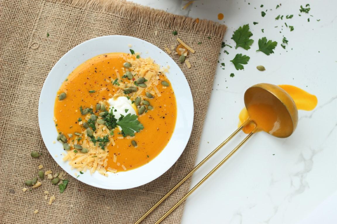 sopa cremosa de zapallo, tandoori, sopa crema, recetas de cocina, recetas saludables, sano, bajas calorías, casancrem.