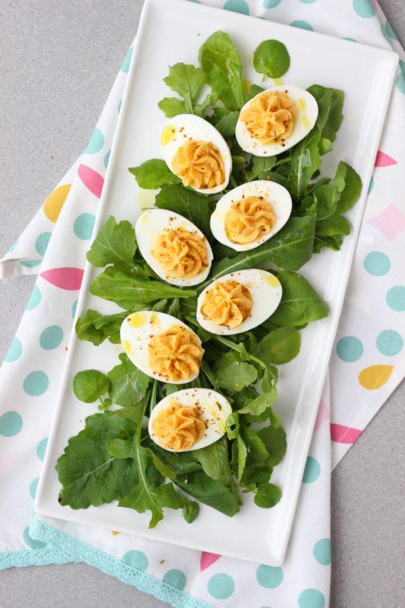 huevos rellenos, deviled eggs, curry, especias, condimentos, molinillos Kotányi, recetas de cocina, buffet, recetas para compartir.