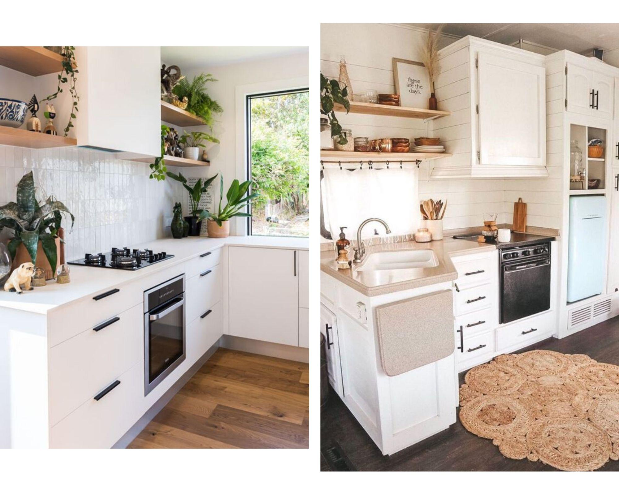 Si los muebles de tu cocina son de madera oscuros, lo mejor para darle luminosidad y modernizarlos es pintarlos (idelmente laquearlos) de blanco o de algun color gris. Con eso y cambiando los herrajes por algo mas moderno ya tu cocina cambia totalmente. Si los azulejos son antiguos, o tienen un color o diseño que no te convencen, se pueden pintar con pintura para azulejos tambien dcon un tono claro y luminoso. Si la pared lo permite se puede colocar algun estante de madera clara para darle calidez y colocar en el, elementos decorativos como ser libros de cocina, canastos, alguna plantita aromatica, especieros y algunos frascos o jarras. Un tipo para cambiar el piso de la cocina sin tener que picar es colocar un vinilico imitacion madera que se coloca por encima del piso existente.