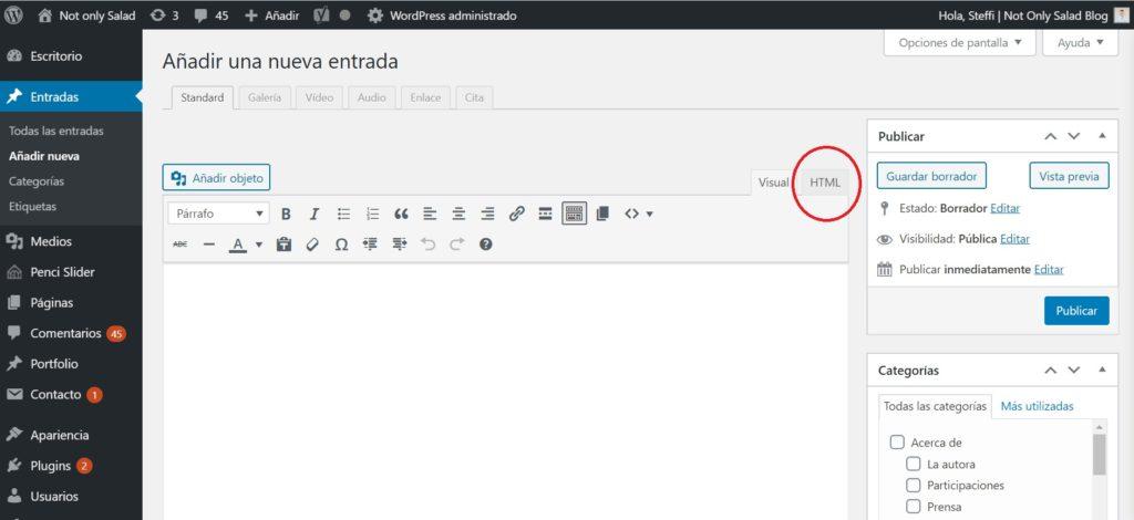 como resaltar texto en wordpress, highlight text in wordpress, html