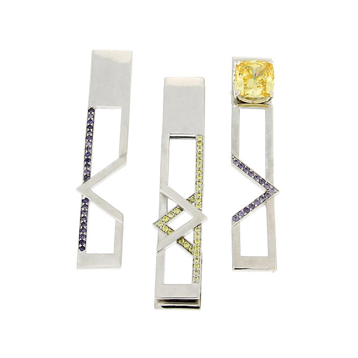 MOD Earrings Sterling Silver Rose Gold Yellow Gold CZ