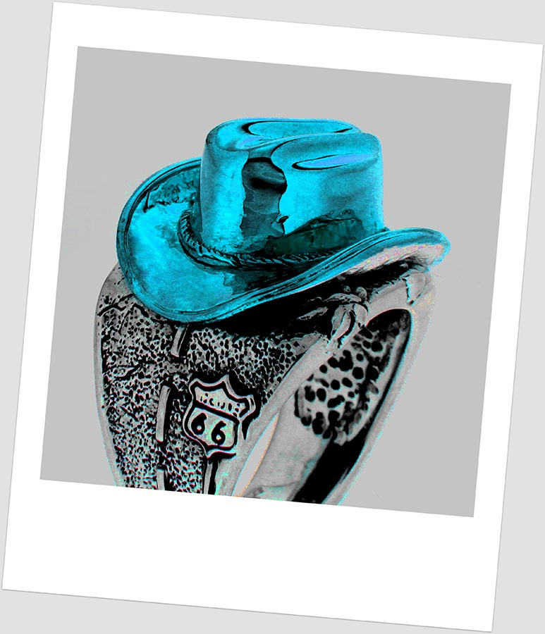 Lolan T Lookbook Golgotha Collection Rings Cowboy Hat Highway