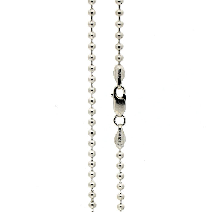 Golgotha Necklace Bead Ball Chain Sterling Silver
