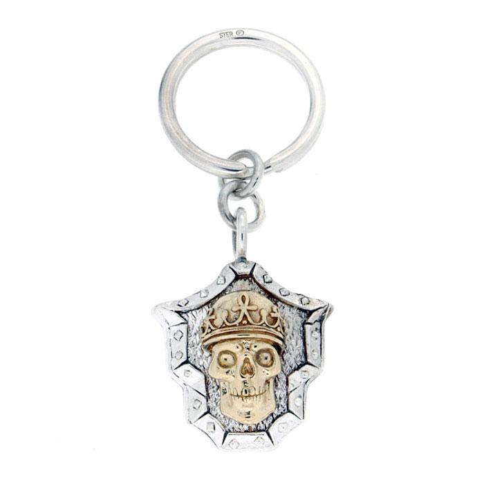 Golgotha Keychain Skull King Silver Rose Gold Yellow Gold