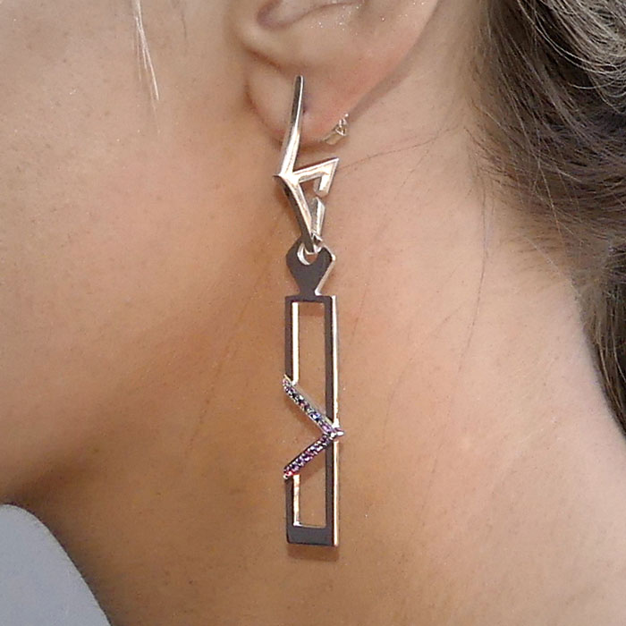 MOD Collective Earrings Earring Charms Two Convex Curves Inverted Triangle Studs Linear Angle Rectangle Charm with Cubic Zirconia Sterling Silver