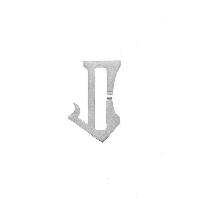 Nineteen Letter J Charm Sterling Yellow Gold Rose Gold
