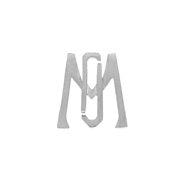 Nineteen Letter M Charm Sterling Yellow Gold Rose Gold