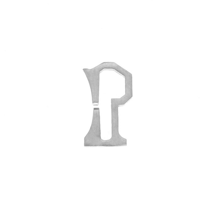 Nineteen Letter P Charm Sterling Yellow Gold Rose Gold