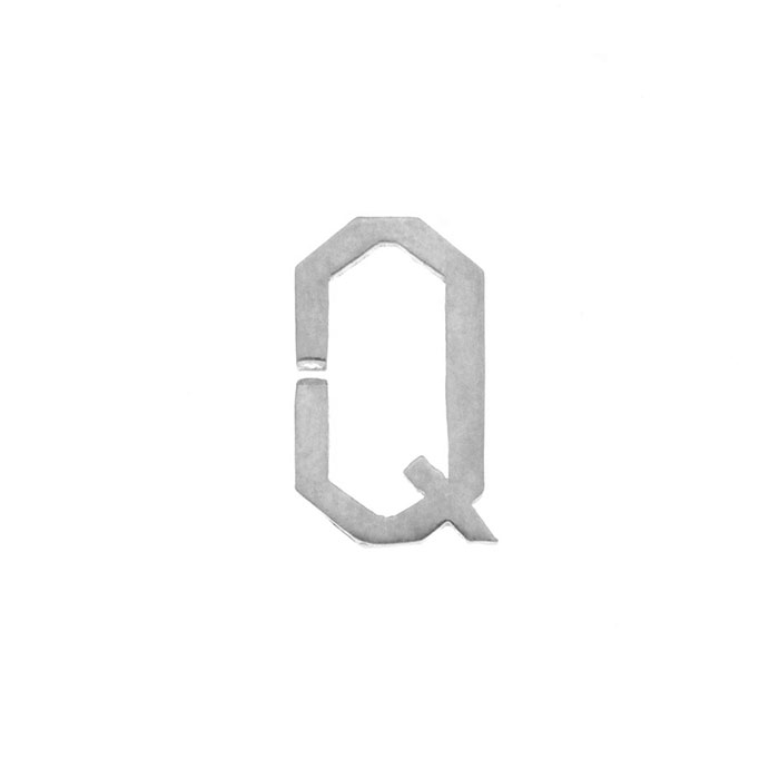 Nineteen Letter Q Charm Sterling Yellow Gold Rose Gold