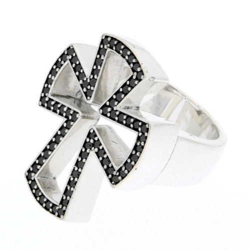 Golgotha Ring Diamond Cross Sterling Rose Gold Yellow Gold
