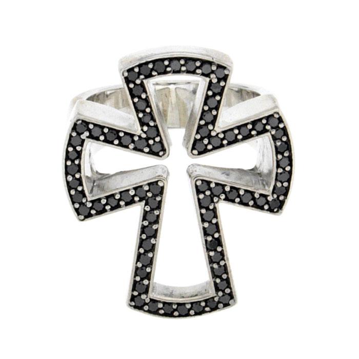 Golgotha Ring Diamond Cross Sterling Rose Gold Yellow Gold