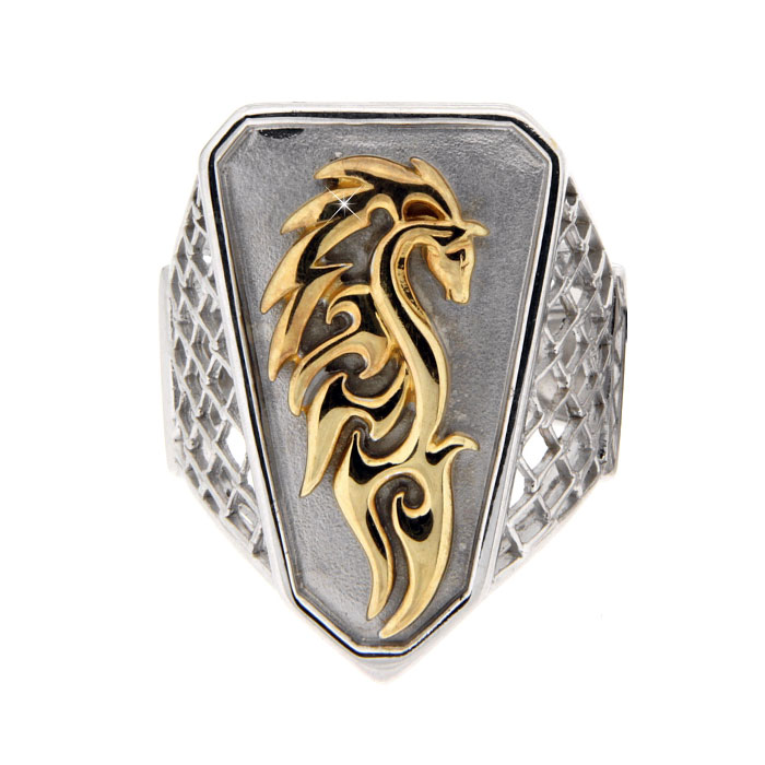 Golgotha Ring Wild Mustang Sterling Rose Gold Yellow Gold