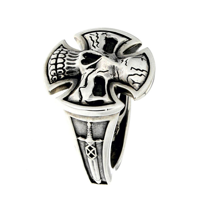 Golgotha Ring Skull Sword Sterling Rose Gold Yellow Gold