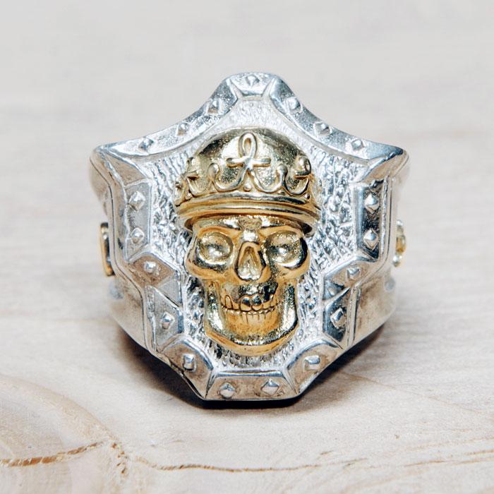 Golgotha Ring Skull King Sterling Rose Gold Yellow Gold