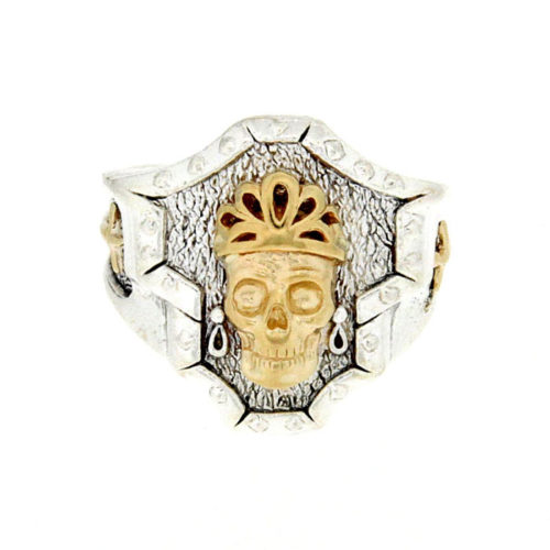 Golgotha Ring Skull Queen Sterling Rose Gold Yellow Gold