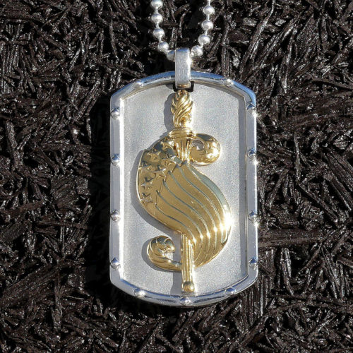 Golgotha Tag Dollar Sign Sterling Rose Gold Yellow Gold