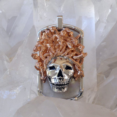 Golgotha Tag Skull Medusa Sterling Rose Gold Yellow Gold