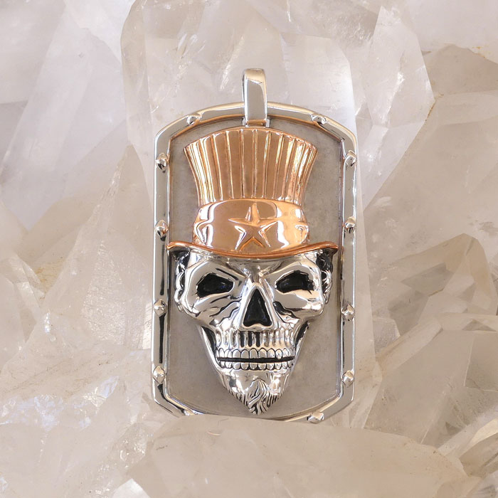 Golgotha Tag Skull Sam Sterling Rose Gold Yellow Gold